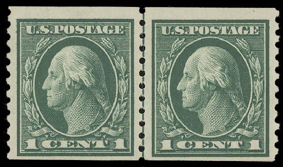 Values of US Stamp Scott 443 - 1914 1c Washington Coil Perf 10 Vertically. Daniel Kelleher Auctions, Aug 2015, Sale 672, Lot 2733