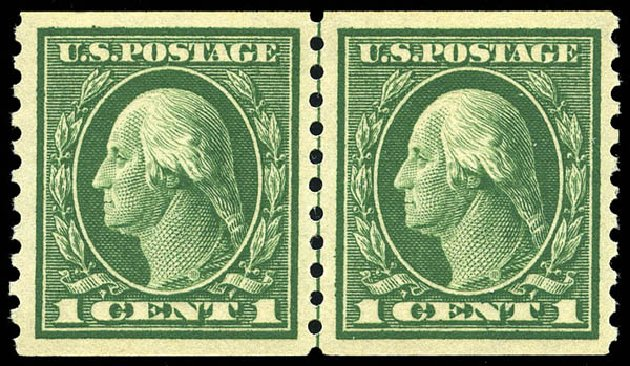 Price of US Stamp Scott Catalog # 443: 1c 1914 Washington Coil Perf 10 Vertically. Matthew Bennett International, May 2014, Sale 350, Lot 586