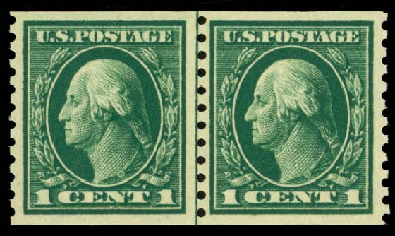 Values of US Stamps Scott # 443: 1914 1c Washington Coil Perf 10 Vertically. Daniel Kelleher Auctions, May 2014, Sale 652, Lot 636