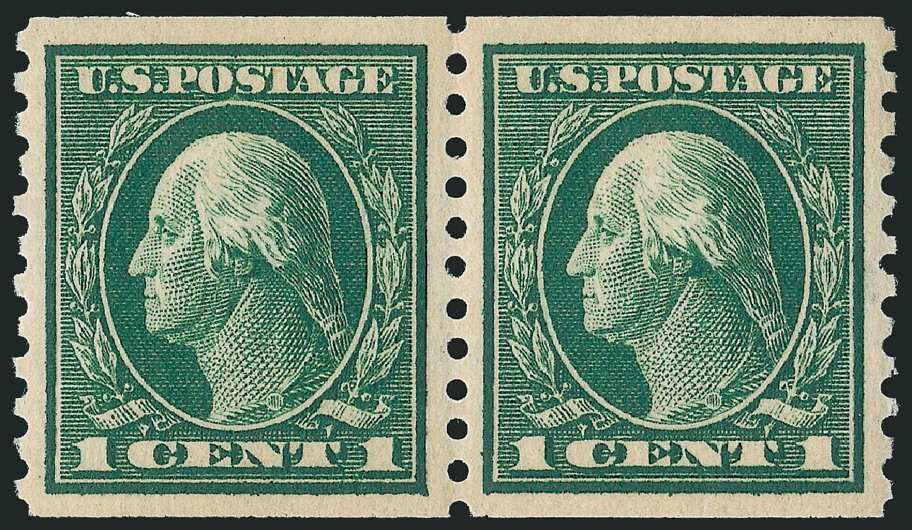 US Stamps Price Scott Cat. 443: 1c 1914 Washington Coil Perf 10 Vertically. Robert Siegel Auction Galleries, Dec 2013, Sale 1062, Lot 626