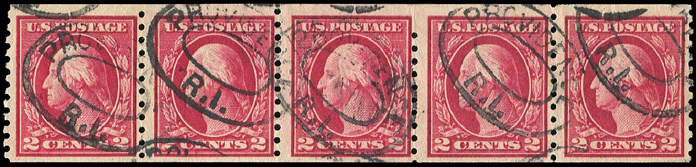 Value of US Stamp Scott Catalog 444: 1914 2c Washington Coil Perf 10 Vertically. Regency-Superior, Jan 2015, Sale 109, Lot 1228