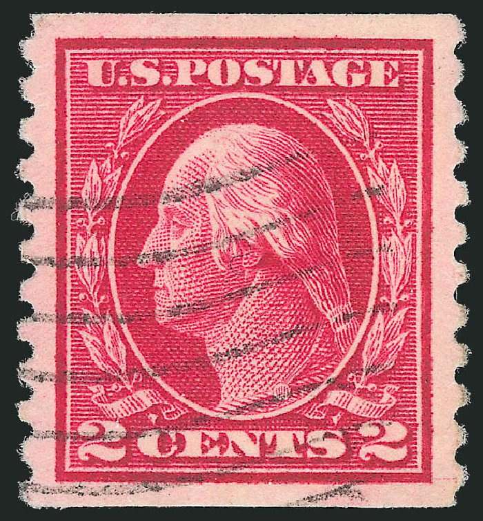 Values of US Stamp Scott Cat. 444 - 1914 2c Washington Coil Perf 10 Vertically. Robert Siegel Auction Galleries, Feb 2015, Sale 1092, Lot 1318