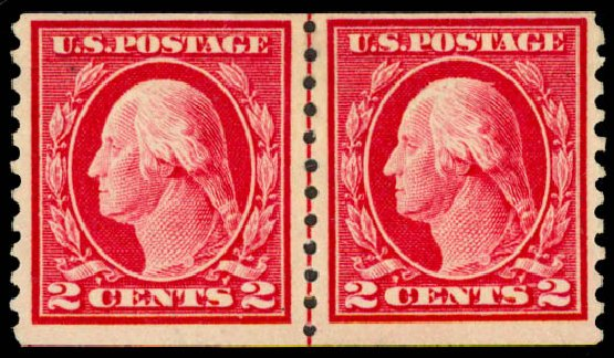 Costs of US Stamp Scott Catalog 444: 1914 2c Washington Coil Perf 10 Vertically. Daniel Kelleher Auctions, May 2015, Sale 669, Lot 3019