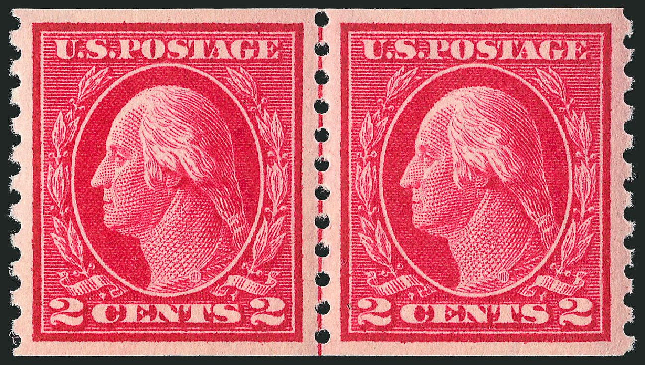 Costs of US Stamp Scott Cat. # 444: 1914 2c Washington Coil Perf 10 Vertically. Robert Siegel Auction Galleries, Apr 2015, Sale 1096, Lot 689