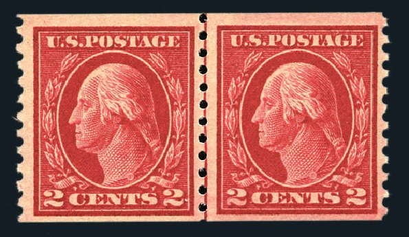 US Stamp Value Scott Catalog # 444 - 2c 1914 Washington Coil Perf 10 Vertically. Harmer-Schau Auction Galleries, Aug 2015, Sale 106, Lot 1820
