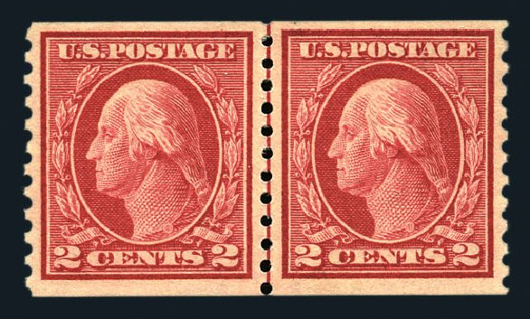 US Stamp Values Scott Cat. #444 - 2c 1914 Washington Coil Perf 10 Vertically. Harmer-Schau Auction Galleries, Aug 2015, Sale 106, Lot 1821