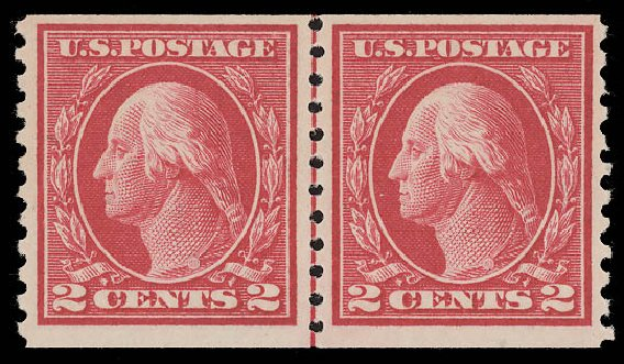 Price of US Stamp Scott Catalog #444: 1914 2c Washington Coil Perf 10 Vertically. Daniel Kelleher Auctions, Aug 2015, Sale 672, Lot 2734