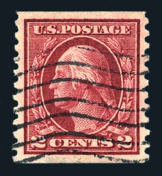 US Stamp Value Scott Cat. # 444 - 1914 2c Washington Coil Perf 10 Vertically. Harmer-Schau Auction Galleries, Aug 2015, Sale 106, Lot 1822