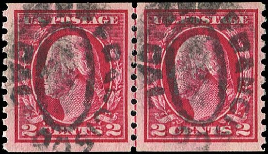 US Stamps Values Scott Catalogue 444 - 1914 2c Washington Coil Perf 10 Vertically. Regency-Superior, Jan 2015, Sale 109, Lot 1226