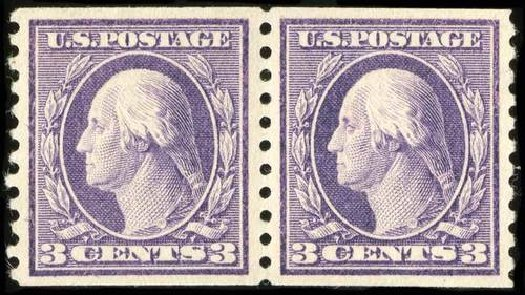 US Stamp Prices Scott Catalogue # 445 - 1914 3c Washington Coil Perf 10 Vertically. Spink Shreves Galleries, Jul 2015, Sale 151, Lot 299
