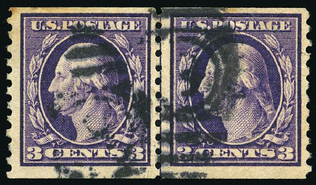 Value of US Stamp Scott Catalogue 445: 1914 3c Washington Coil Perf 10 Vertically. Matthew Bennett International, Feb 2015, Sale 351, Lot 190