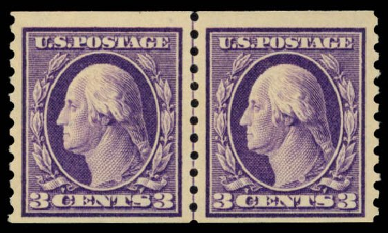 Costs of US Stamp Scott Catalogue #445: 3c 1914 Washington Coil Perf 10 Vertically. Daniel Kelleher Auctions, May 2015, Sale 669, Lot 3020