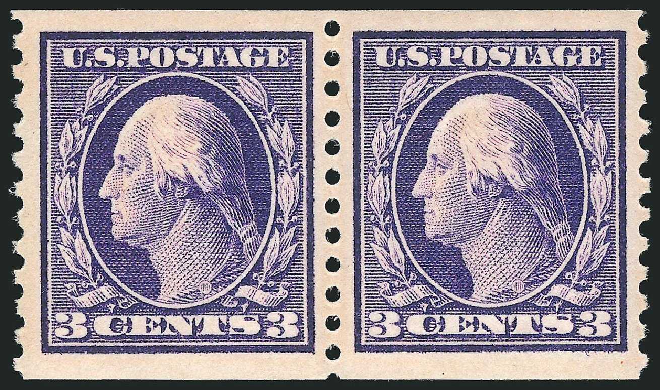 US Stamps Prices Scott Cat. 445 - 1914 3c Washington Coil Perf 10 Vertically. Robert Siegel Auction Galleries, Apr 2015, Sale 1096, Lot 691