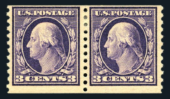 Value of US Stamps Scott Cat. # 445: 1914 3c Washington Coil Perf 10 Vertically. Harmer-Schau Auction Galleries, Aug 2015, Sale 106, Lot 1824