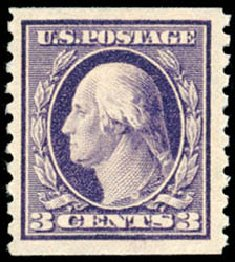 US Stamp Values Scott Cat. 445 - 3c 1914 Washington Coil Perf 10 Vertically. Schuyler J. Rumsey Philatelic Auctions, Apr 2015, Sale 60, Lot 2392