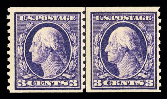 Cost of US Stamp Scott #445: 1914 3c Washington Coil Perf 10 Vertically. Cherrystone Auctions, Jul 2015, Sale 201507, Lot 2153