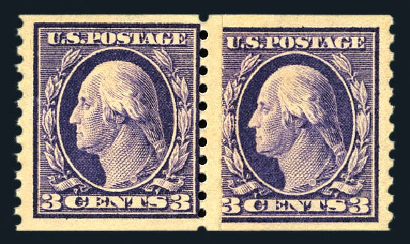 Prices of US Stamps Scott # 445 - 3c 1914 Washington Coil Perf 10 Vertically. Harmer-Schau Auction Galleries, Aug 2015, Sale 106, Lot 1823