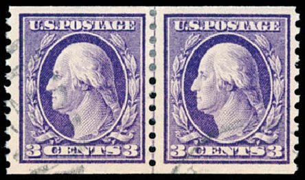 Costs of US Stamps Scott Catalog 445: 1914 3c Washington Coil Perf 10 Vertically. Schuyler J. Rumsey Philatelic Auctions, Apr 2015, Sale 60, Lot 2393