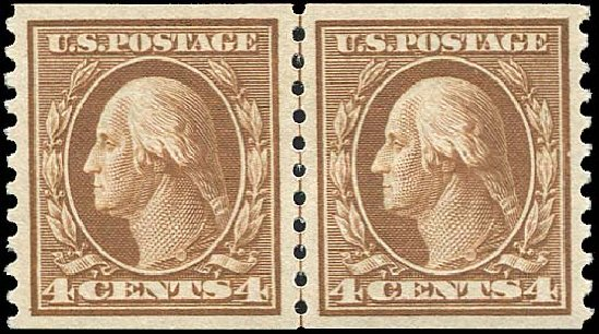 Prices of US Stamps Scott 446: 4c 1915 Washington Coil Perf 10 Vertically. Regency-Superior, Aug 2015, Sale 112, Lot 829