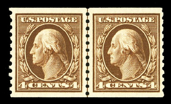 Price of US Stamp Scott # 446: 1915 4c Washington Coil Perf 10 Vertically. Cherrystone Auctions, Jul 2015, Sale 201507, Lot 2154