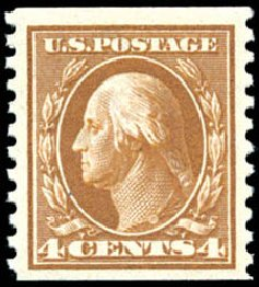 US Stamp Values Scott Catalog # 446 - 1915 4c Washington Coil Perf 10 Vertically. Schuyler J. Rumsey Philatelic Auctions, Apr 2015, Sale 60, Lot 2394