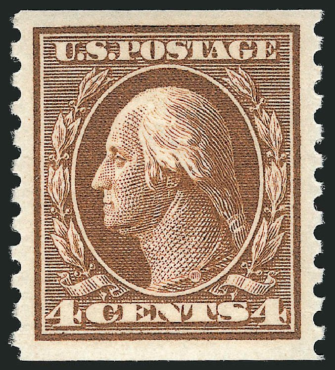 Price of US Stamp Scott Catalog 446: 1915 4c Washington Coil Perf 10 Vertically. Robert Siegel Auction Galleries, Apr 2015, Sale 1096, Lot 694