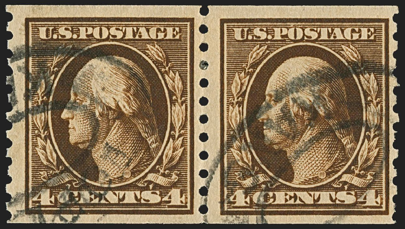 US Stamps Prices Scott #446: 4c 1915 Washington Coil Perf 10 Vertically. Robert Siegel Auction Galleries, Jul 2015, Sale 1107, Lot 474