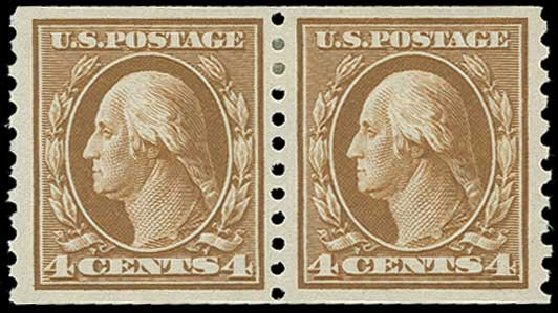 US Stamps Price Scott # 446 - 1915 4c Washington Coil Perf 10 Vertically. H.R. Harmer, Jun 2015, Sale 3007, Lot 3332
