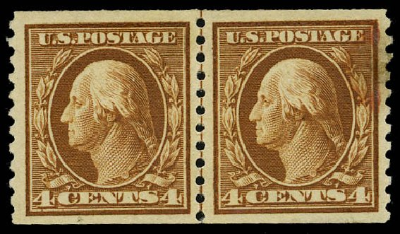 Price of US Stamps Scott Cat. # 446: 4c 1915 Washington Coil Perf 10 Vertically. Daniel Kelleher Auctions, May 2015, Sale 669, Lot 3022