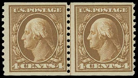 Cost of US Stamp Scott # 446 - 4c 1915 Washington Coil Perf 10 Vertically. H.R. Harmer, Jun 2015, Sale 3007, Lot 3333