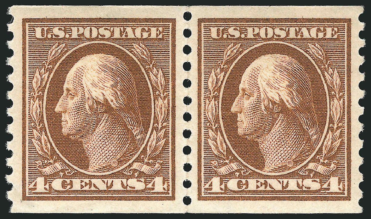Costs of US Stamp Scott Catalog #446 - 1915 4c Washington Coil Perf 10 Vertically. Robert Siegel Auction Galleries, Apr 2015, Sale 1096, Lot 693