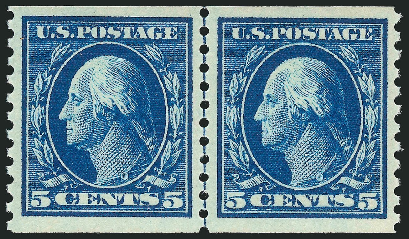 US Stamps Prices Scott #447: 5c 1914 Washington Coil Perf 10 Vertically. Robert Siegel Auction Galleries, Feb 2015, Sale 1093, Lot 337