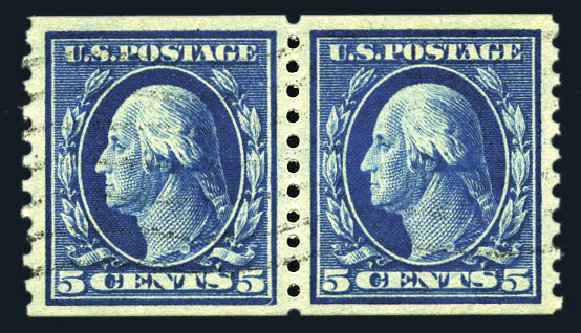 US Stamp Value Scott 447 - 1914 5c Washington Coil Perf 10 Vertically. Harmer-Schau Auction Galleries, Aug 2015, Sale 106, Lot 1828