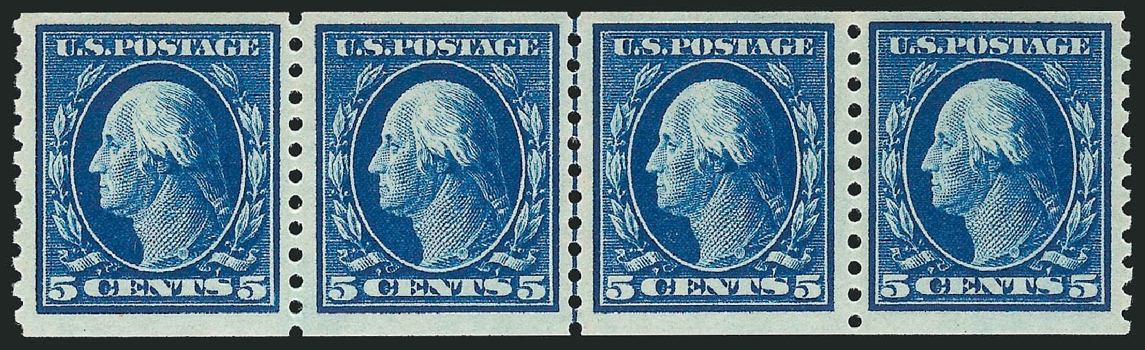 US Stamps Values Scott Cat. #447 - 1914 5c Washington Coil Perf 10 Vertically. Robert Siegel Auction Galleries, Feb 2015, Sale 1093, Lot 338