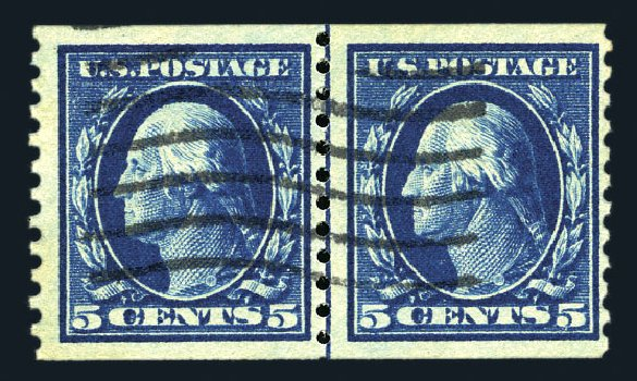 Value of US Stamp Scott Catalogue # 447: 5c 1914 Washington Coil Perf 10 Vertically. Harmer-Schau Auction Galleries, Aug 2015, Sale 106, Lot 1829