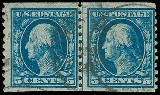 Prices of US Stamps Scott 447 - 5c 1914 Washington Coil Perf 10 Vertically. H.R. Harmer, Jun 2015, Sale 3007, Lot 3334