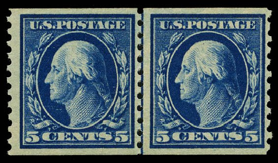 US Stamps Price Scott 447 - 1914 5c Washington Coil Perf 10 Vertically. Daniel Kelleher Auctions, May 2015, Sale 669, Lot 3024