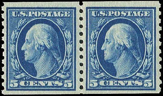 Price of US Stamps Scott Cat. # 447 - 1914 5c Washington Coil Perf 10 Vertically. Regency-Superior, Aug 2015, Sale 112, Lot 834