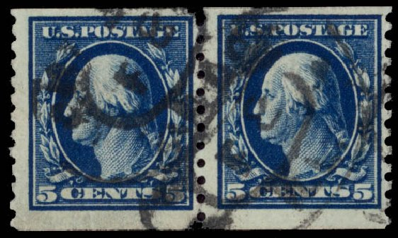 Price of US Stamps Scott Catalogue # 447 - 5c 1914 Washington Coil Perf 10 Vertically. Daniel Kelleher Auctions, May 2015, Sale 669, Lot 3025