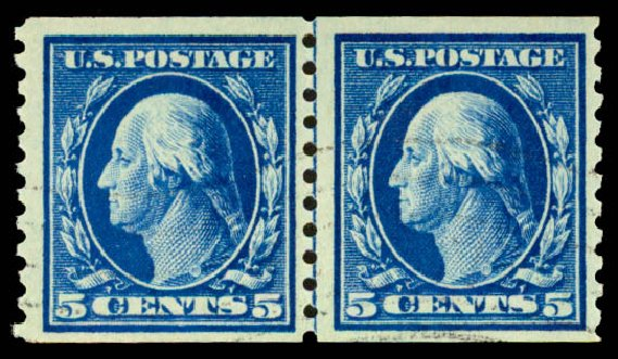 Costs of US Stamps Scott #447: 5c 1914 Washington Coil Perf 10 Vertically. Daniel Kelleher Auctions, Aug 2015, Sale 672, Lot 2735