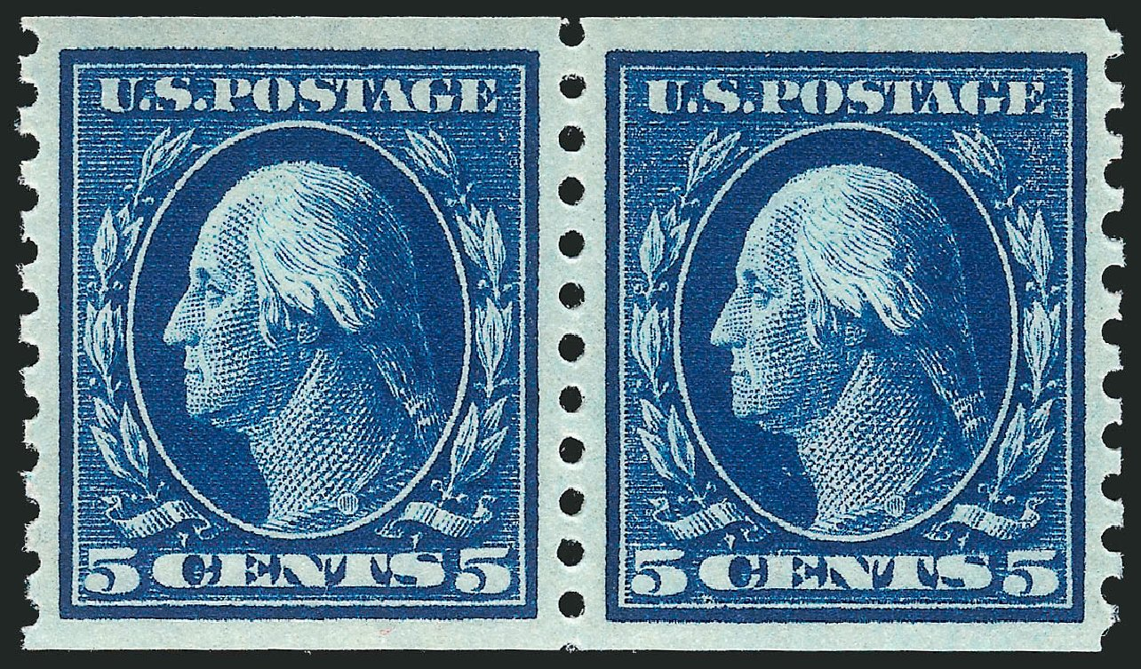 US Stamp Value Scott Cat. # 447 - 1914 5c Washington Coil Perf 10 Vertically. Robert Siegel Auction Galleries, Apr 2015, Sale 1096, Lot 695