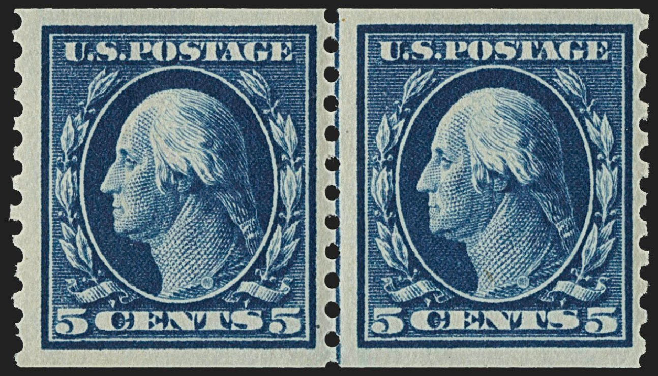 Values of US Stamps Scott Catalogue 447 - 5c 1914 Washington Coil Perf 10 Vertically. Robert Siegel Auction Galleries, Jul 2015, Sale 1107, Lot 475