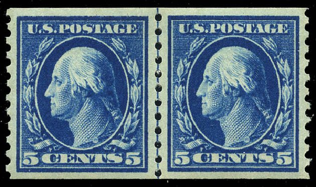 US Stamp Prices Scott 447 - 1914 5c Washington Coil Perf 10 Vertically. Matthew Bennett International, Feb 2015, Sale 351, Lot 192