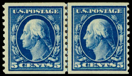 Cost of US Stamp Scott Catalogue #447: 5c 1914 Washington Coil Perf 10 Vertically. Daniel Kelleher Auctions, May 2015, Sale 669, Lot 3023