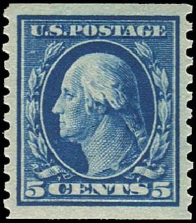 US Stamp Values Scott #447: 5c 1914 Washington Coil Perf 10 Vertically. Regency-Superior, Aug 2015, Sale 112, Lot 833