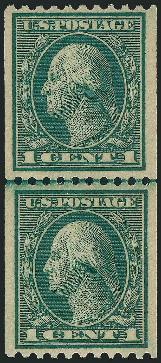 Value of US Stamp Scott 448: 1c 1915 Washington Coil Perf 10 Horizontally. Robert Siegel Auction Galleries, Dec 2013, Sale 1062, Lot 637