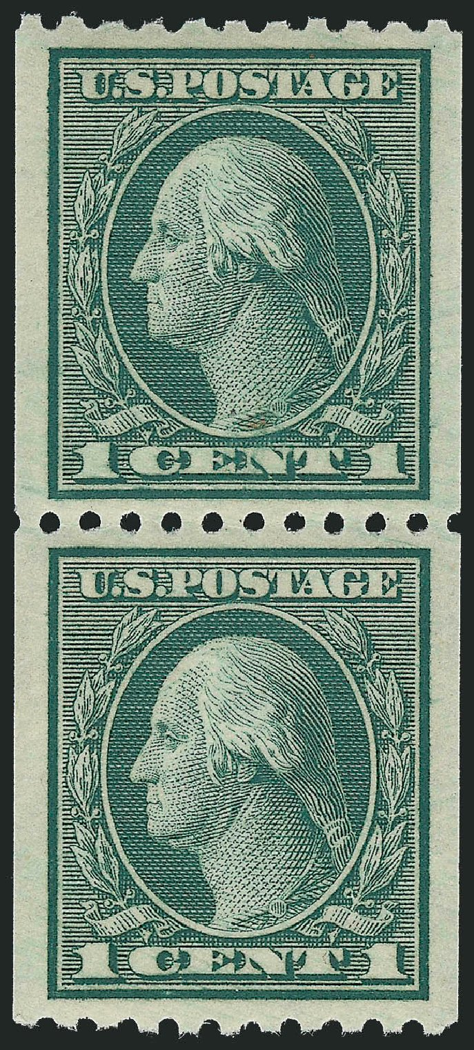 US Stamp Prices Scott Catalog # 448 - 1c 1915 Washington Coil Perf 10 Horizontally. Robert Siegel Auction Galleries, Dec 2013, Sale 1062, Lot 638
