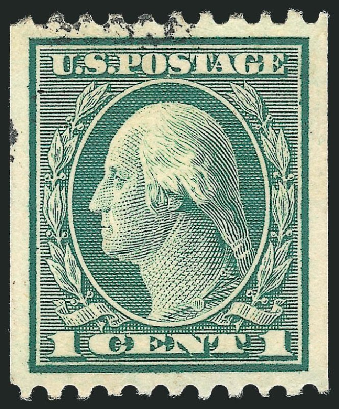 US Stamp Values Scott Catalogue #448 - 1915 1c Washington Coil Perf 10 Horizontally. Robert Siegel Auction Galleries, Oct 2012, Sale 1032, Lot 3549
