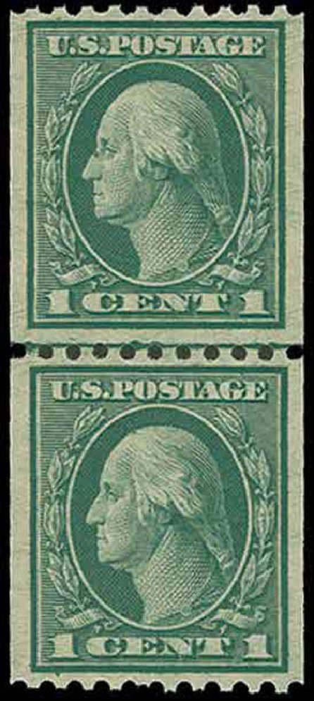 Value of US Stamps Scott Catalog #448 - 1915 1c Washington Coil Perf 10 Horizontally. H.R. Harmer, Nov 2013, Sale 3004, Lot 1270