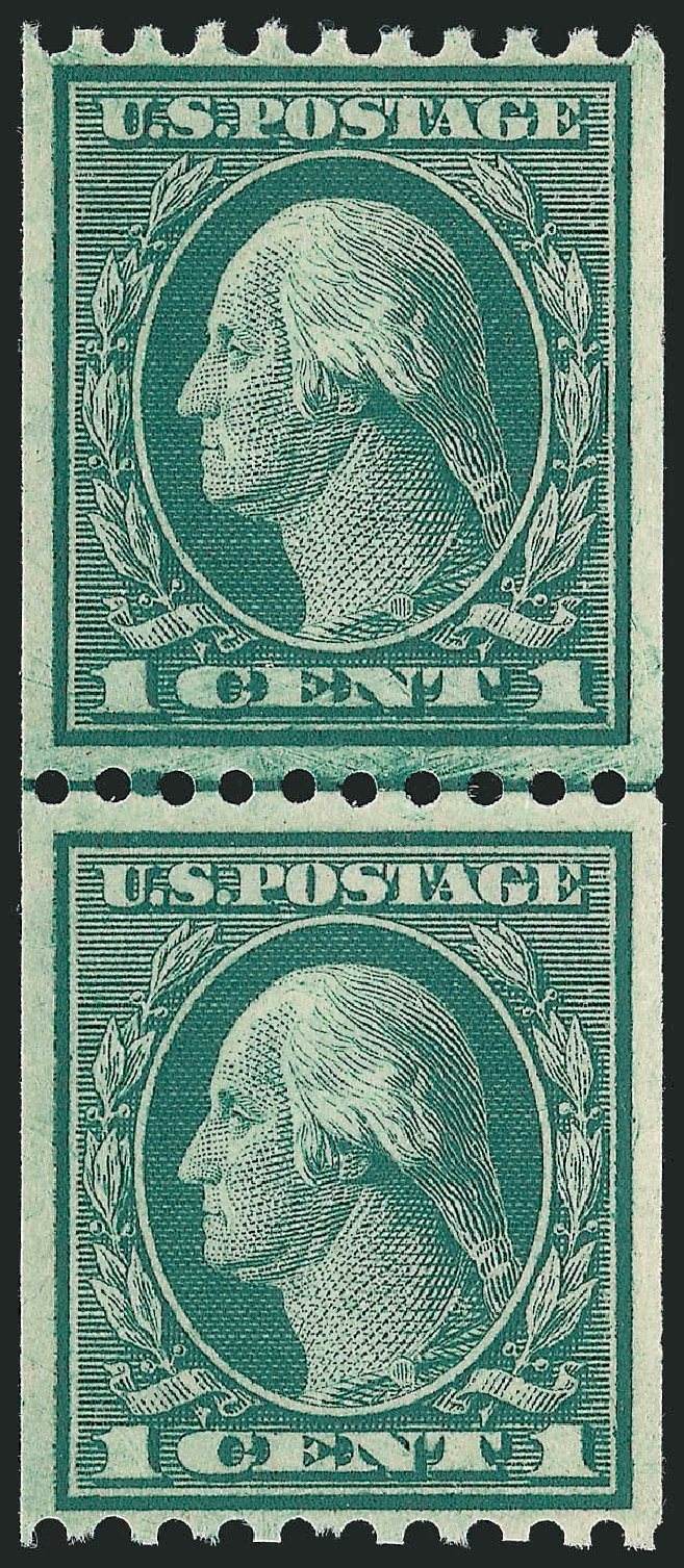 US Stamp Values Scott 448 - 1c 1915 Washington Coil Perf 10 Horizontally. Robert Siegel Auction Galleries, Nov 2012, Sale 1034, Lot 420